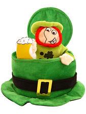 Fancy Dress St Patricks Irish Ireland Eire Top Hat Green With Leprechaun Man