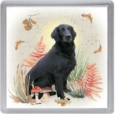 "Flatcoated Retriever Dog Coaster ""Woodland Design"" Gift by Starprint"