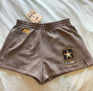 NWT Victoria's Secret PINK Gray US United States Army Soft Shorts