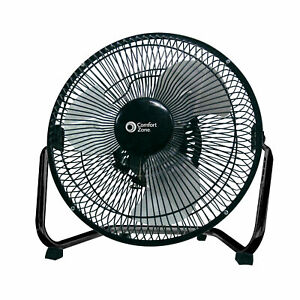 "Comfort Zone CZHV9B 9"" High-Velocity 3-Speed Floor Fan"