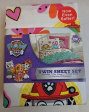 Nickelodeon Paw Patrol Twin Bed Sheet Set w/ Fitted & Flat Sheets, 1 Pillowcase