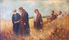Jésus Christ et ses disciples huile sur bois début XXe signée en bas à droite