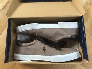 New Ralph Lauren polo brown chambray Men's lace up canvas casual shoe sneaker 13