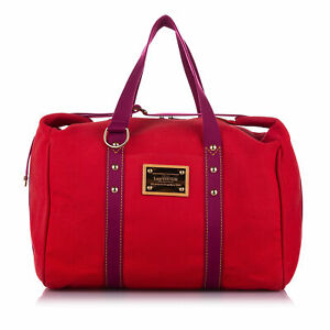 Pre-Loved Louis Vuitton Red Canvas Fabric Antigua Cabas GM FRANCE