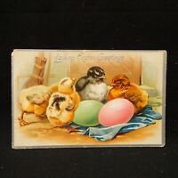 POSTCARD LOVING EASTER GREETINGS CHICKS WITH EGGS SCENE POSTMARKED EMBOSSED