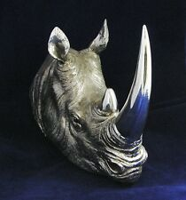 Silver Rhino Head Wall Art Plaque Figurine Rhinoceros Figure Chrome Ornament NEW