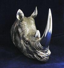 Silver Rhino Head Wall Art Plaque Figurine Rhinoceros Figure Chrome Ornament NEW