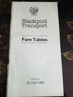 Blackpool T'port, Bus Fare Tables Booklet,  1983. Collectable Rare. READ NOTES!!