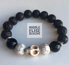 Aromatherapy diffuser bracelet lava stones cream howlite Boys - Skull oil 16cm