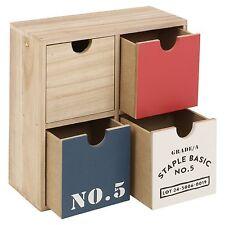 Boîte de Rangement en Bois Tiroirs Accessoires Bibelots Bijou Bureau Maison