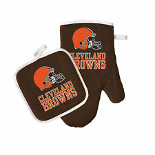 Football Cleveland Browns Oven Mitt and Pot Holder Set Tailgate Bbq Licensed