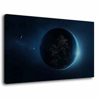 Round Starry Sky Earth Space Galaxy Planet Stars Canvas Wall Art Picture Print