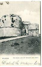 1916 Milazzo torri rotonde e antico castello FP B/N VG ANIM