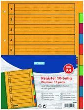 dots Register DIN A4 blanko weiß 10-teilig Karton Ordner Trennblätter Ablage  !