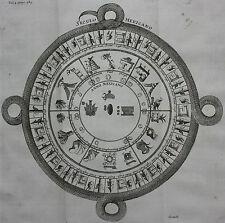 Original Antique Imprimé Aztèque Calendrier, l'ancien Mexique, Gemelli, Churchill, 1744