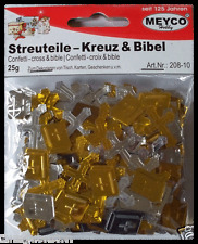 25 g Streuteile Kreuz und Bibel in gold und silber