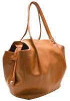 Italian Real Genuine Leather Large Soft Shoulder Bag / Handbag - Brown