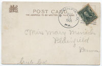 1905 Plainfield Pennsylvania Type 1 Doane Cancel on Postcard [2265]