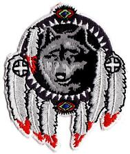WOLF with WHITE FEATHERS - IRON or SEW ON PATCH