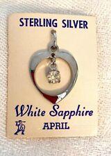 Pendant White Sapphire Gem Dangle Charm Noc Elco Sterling Silver April Heart