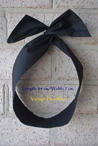 Women 100% Cotton Vintage Wire Headband Bunny Ears Black Hairband