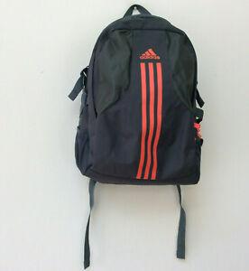 Adidas Backpack Bag Grey Orange Stripe School College Walking FLAW