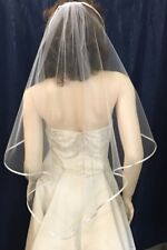 FINGERTIP LENGTH ANGEL CUT BRIDAL VEIL PENCIL EDGE  OFF WHITE WITH COMB