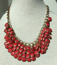 Anthropologie Red Shingle Collar Statement Necklace Jewelry Bag