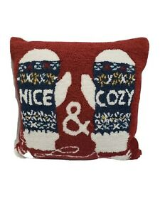 """Martha Stewart Nice & Cozy 18"""" Holiday Christmas Decorative Pillow - Red"""