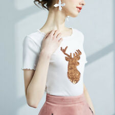 Christmas Decorations Elk Gold Deer Sequin Applique Embroidery iron on patche WS