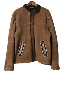 UGG Australia Men's Large Leather Cuir bomber jacket coat brown