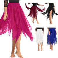 Women Belly Dance Skirt Side Split Elastic Waist Asymmetric Chiffon Long Skirt