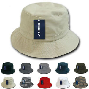 Decky Bucket Fishermen Boonie Hats Caps Washed Cotton Twill Fitted
