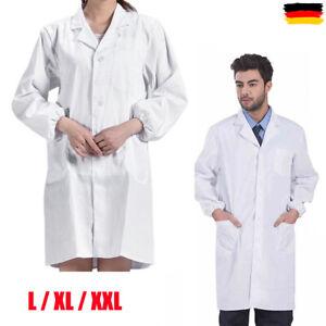Weiß Laborkittel Herren Damen Ärztemantel Labor Medizin Mantel Arbeitskittel