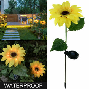 2PC Outdoor Sunflower Solar Powered Garden Decor Yard Light Waterproof Path Lamp