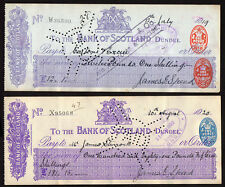 BANK OF SCOTLAND, Dundee    Two cheques from 1919 nd 1920  .different stamps