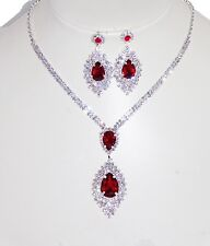 Silver Rhinestone Crystal and Red Ruby Party Necklace and Earrings Set