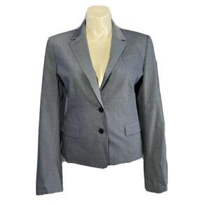 Ann Taylor 18 Tall Blazer Gray Virgin Wool Bl Suit Jacket Lined Pocket Career XL
