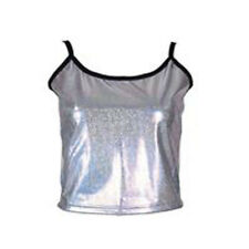 80s Women's High Shine Silver Vest Top - 1980s Neon Fancy Dress - One Size