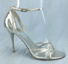 Guess Okanarra Silver Strappy High Heels Sandals Ankle Strap Shoes Womens 8