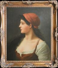 Woman with Red Hat~Big Size Original Oil Painting+Wood Frame