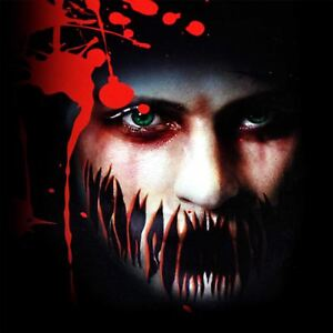 Halloween Big Mouth Scary Tattoo Temporary Sticker Zombies Face Mask Fancy Dress