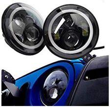 "Turbo Pair Eagle Lights Jk Jeep Wrangler 7"" Round  Led Headlight White Halo"