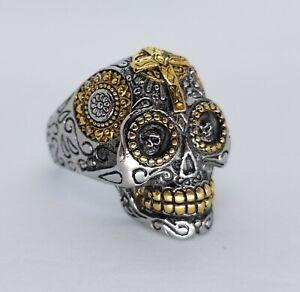 Sugar Skull Ring - 316 Stainless Steel - Muerte Cross Day Of The Dead Biker SS12