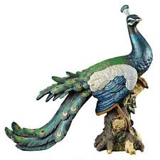 Strutting Plumage Feathers Royal Peacock Home Garden Gallery Statue Sculpture