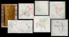 1827 Atlas World Map Continents America Australia Bailleul bibliomappe