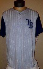 NEW Majestic MLB Tampa Bay Rays Gray & White Striped Jersey Shirt Mens Medium M