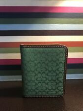 Coach Signature ID Case Very Rare Holds 20 Cards! Beautiful Green Jacquard!