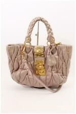 Authentic MIU MIU Materasse Handbag Leather Tote Purse Shoulderbag Bag Dust Pink