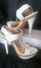 PRIMARK STUNNING WHITE HIGH HEEL PARTY SHOES/SANDALS BRAND NEW